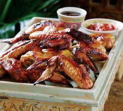 Honey and Soy Spit-Roasted Chicken Wings.