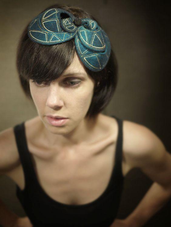 Teal Felt Headband Fascinator With Geometric Pattern.