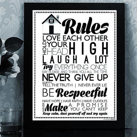 Lámina enmarcada House Rules de Maison Privée