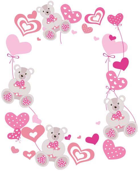 Transparent Hearts PNG Photo Frame with Teddy Bears | Moldes, riscos ...