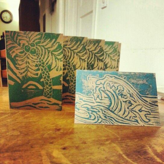 Tropical Cards - linoleum block prints