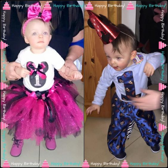 Twins in their 1st Birthday Outfits. Minnie & Mickey Mouse. LR Designs Tutu Boutique January 2015