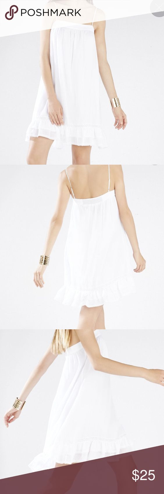 BCBGMAXAZRIA AISHA LACE RUFFLE HEM SLIP DRESS BCBGMAXAZRIA AISHA LACE RUFFLE HEM SLIP DRESS! No zipper, just slips over head. Adjustable straps. BCBGMaxAzria Dresses Mini