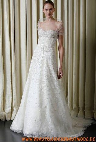 Traumhafte weiße Brautkleider aus Netz und Satin mit Applikation A-Linie Herzausschnitt mit Ärmel