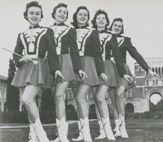 Rice Institute Majorettes Sue Carroll Brugier, Alice Carmichael (head majorette), Mary Noguess, Clair Middlebrook, Franji Hensley, 1958: Carmichael Head, Alice Carmichael, Brugier Alice, Carroll Brugier, Institute Majorettes, Clair Middlebrook, Franji Hensley, Majorettes Sue, Head Majorette