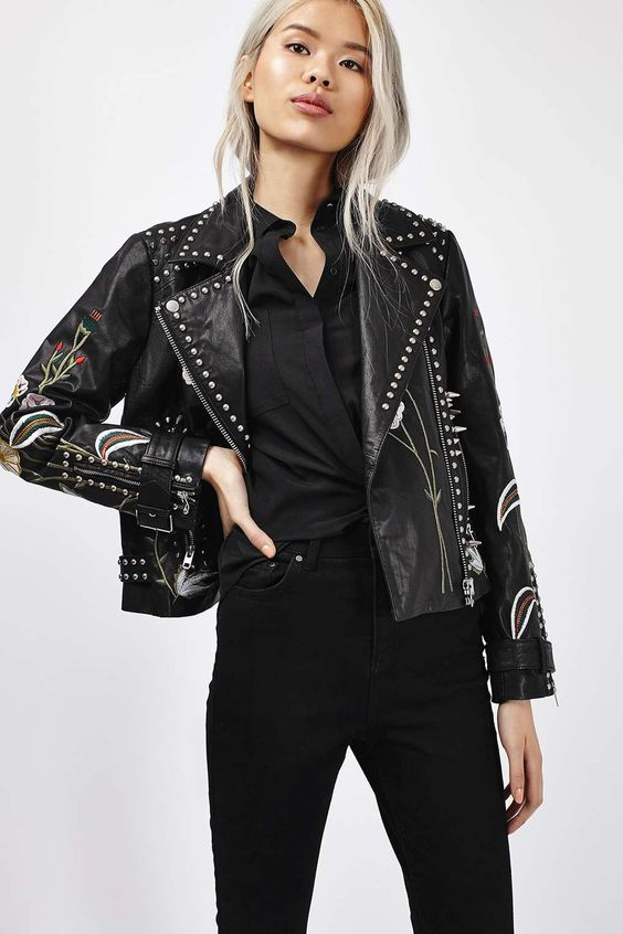 Embroidered Leather Jacket - New Season - Clothing - Topshop