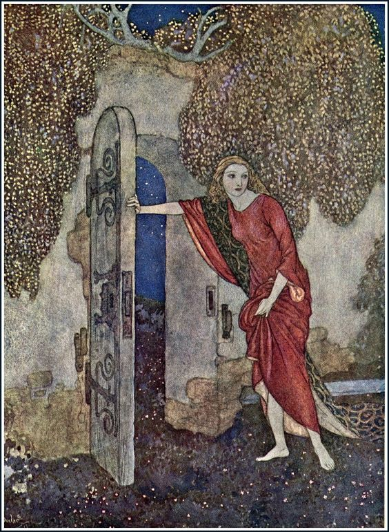 But Nicolette one night escaped; The Story of Aucassin and Nicolette. An Old World Idyll - Edmund Dulac's Picture Book for the French Red Cross, 1915