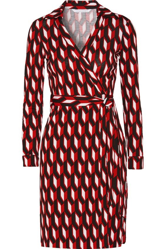 DIANE VON FURSTENBERG New Jeanne Two Printed Cotton-Blend Jersey Wrap Dress. #dianevonfurstenberg #cloth #dress