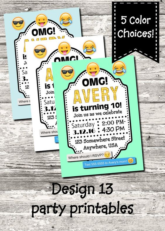 Emoji Birthday Party Invitation With Free Thank You By