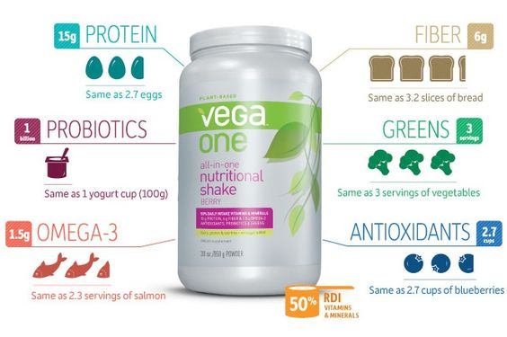 Dairy-Free Nutritional / Meal Replacement Shake: Tasty Vega One Nutritional Shakes are packed with dairy-free protein, vitamins, minerals, probiotics, prebiotics, greens, digestive enzymes, and Omega 3s.: