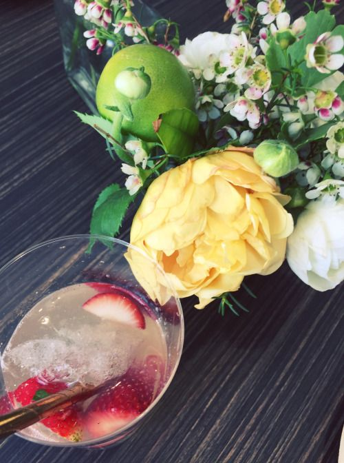 Simple party with strawberry and handpicked flowers