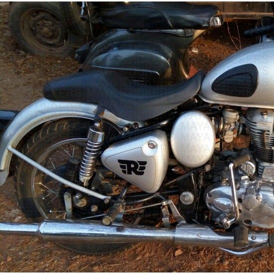 Royal Enfield Classic Silver Tool Box Modified With R Royal - Classic motorcycle custom stickers