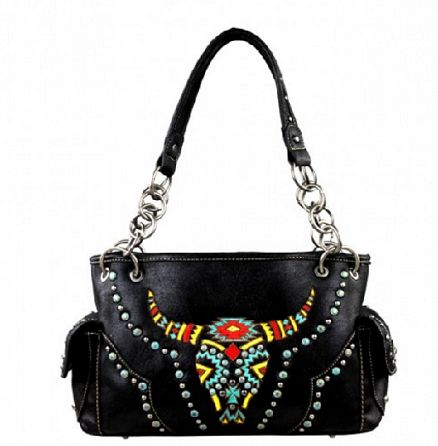 Embroidered Longhorn Handbag - It's A Cowgirl Thing Boutique