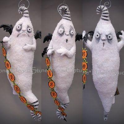Halloween Bibbity, Bobbity and Boo - folk art - ghosts