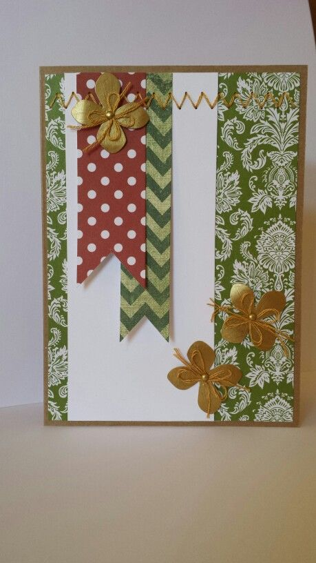Bailey Ray's handmade card. Punched flowers + paper stitching.