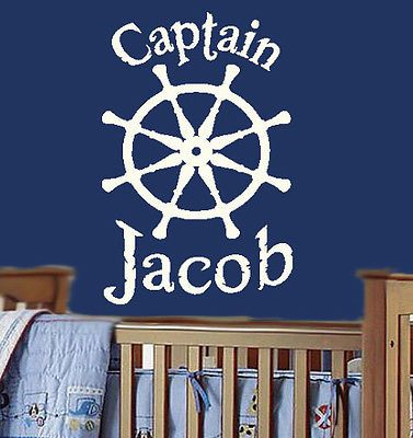 CAPTAINS WHEEL Personalized Nautical Ship Boat Vinyl Wall Decal - Custom made vinyl wall decals   how to remove