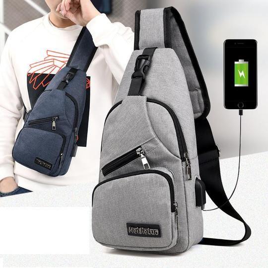 Anti-theft Sling Shoulder Chest Pack Bag External USB Charge Port Cable Backpack