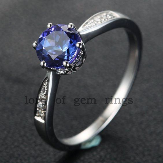 $339 Round Tanzanite Engagement Ring Pave VS Diamond Wedding 14K White Gold 7mm