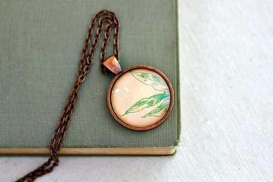 Peach and mint floral necklace bohemian jewelry