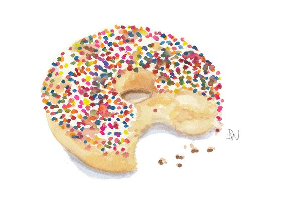 Orignal Donut Watercolour - Sprinkle Donut Painting, Kitchen Art, Food Art, 7x5. $15.00, via Etsy. Kitchen cute