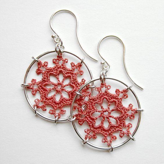 crochet earrings e-nautical-dustyrose1 by mccordworks