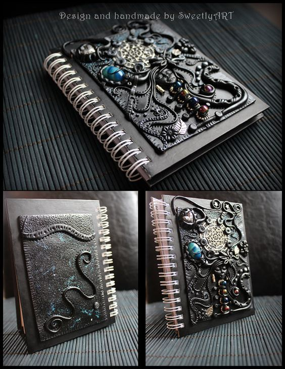 Handcrafted polymer clay fantasy art journal diary by SweetlyART, $73.00