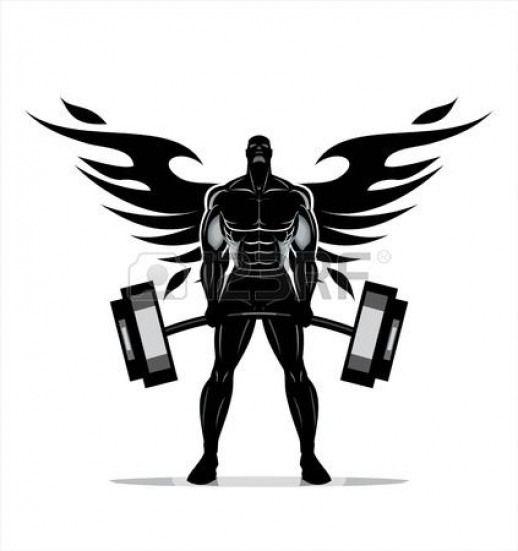 Winged Body Builder Full Body Silhouette Of Bodybuilder Fitness Model Fitnessmodels Bodybuilding Logo Gym Art Bodybuilding Logo Body Builder