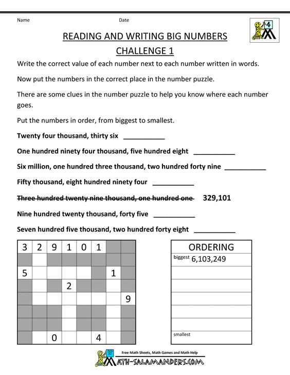 math worksheet : 4th grade math reading writing big numbers 1  1000×1294  : Big Ideas Math Worksheets