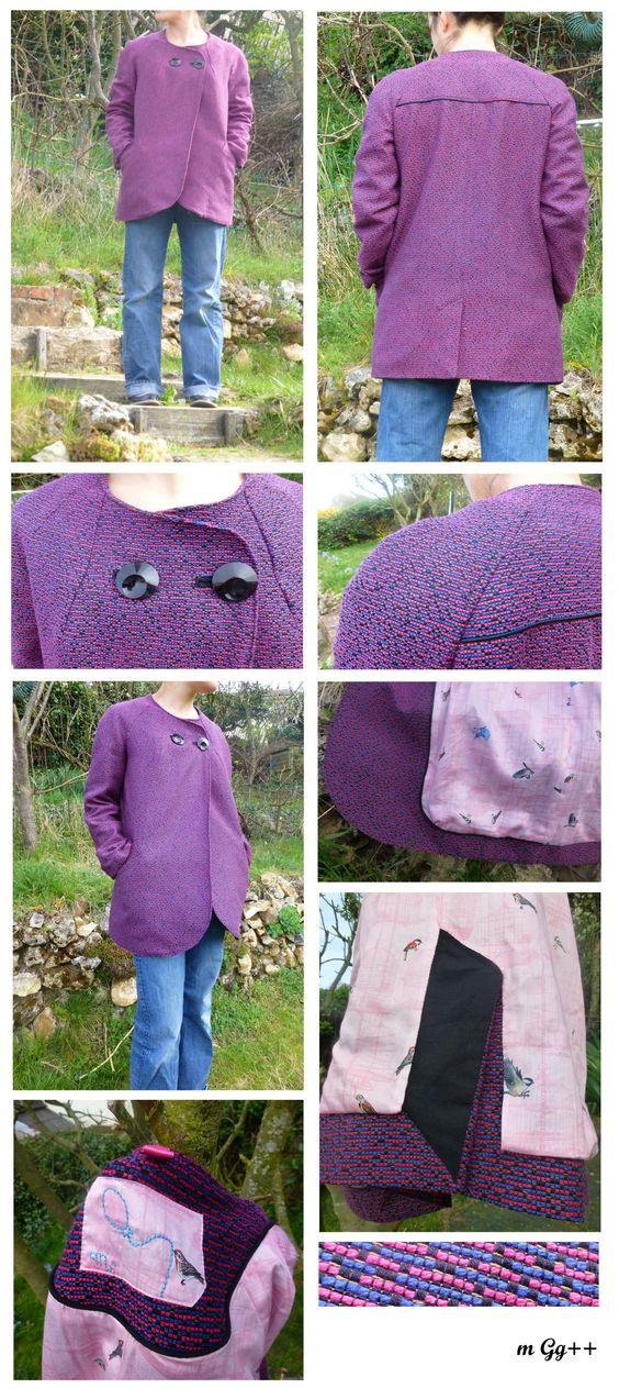 Veste droite à manche raglan, boutonnières et poches passepoilées (patron maison) par m Gg++