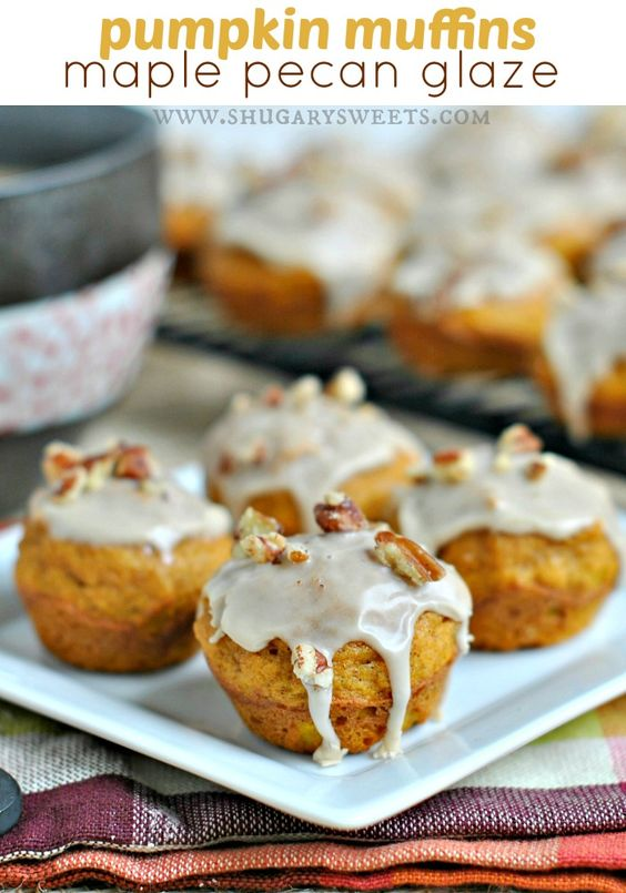 Mini Pumpkin Muffins with a sweet Maple Pecan Glaze. Delicious recipe ...