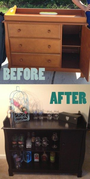 Before and after convert a baby changing table into dry for Dry bar furniture ideas