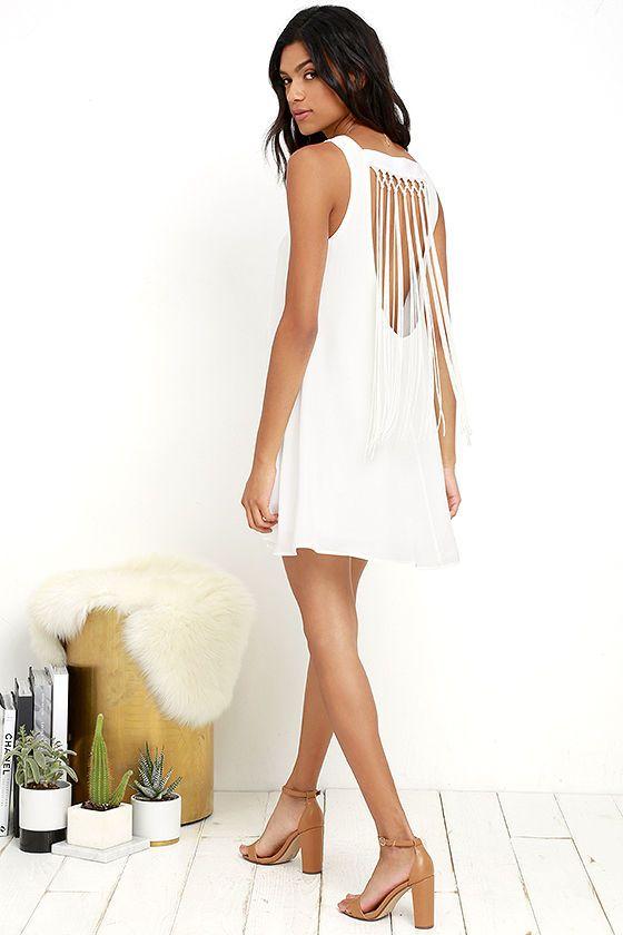 Feeling Fierce Ivory Fringe Shift Dress | Feelings, Long fringes ...