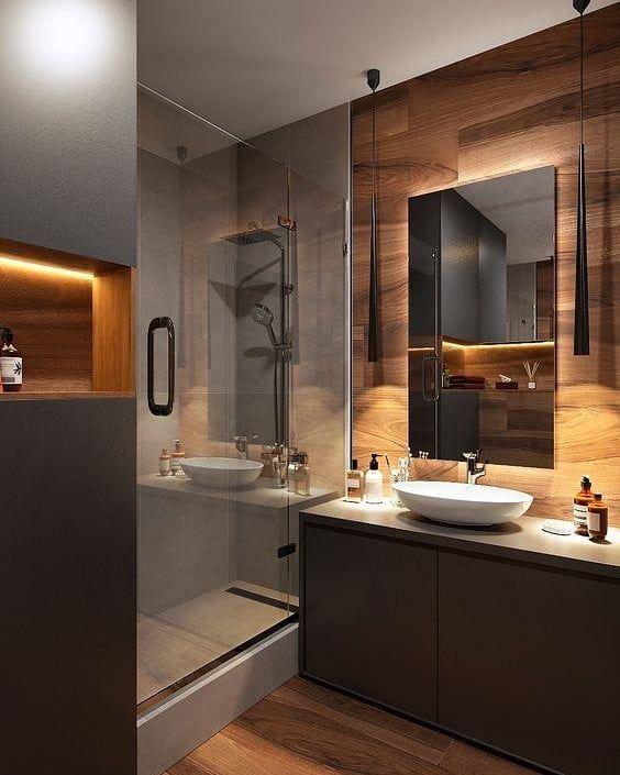 Olha Que Banheiro Mais Aconchegante O Tom De Madeira Combinado