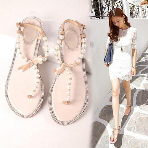 Bow Diamond Pearl Flat Sandals