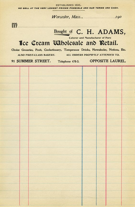 Commercial Invoice Forms Excel Adams Ice Cream Invoice  Old Design Shop  Bits Of Ephemera  Car Repair Receipt Template Pdf with Plumbing Invoices Pdf Adams Ice Cream Invoice  Old Design Shop Quickbooks Invoice Manager Excel