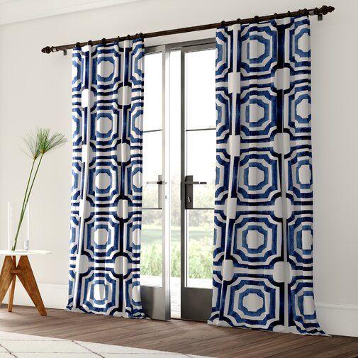 Donato Cotton Geometric Room Darkening Rod Pocket Single Curtain