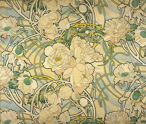 Peony pattern from an art piece of Mucha