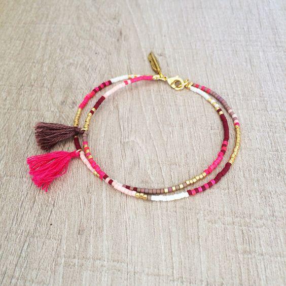 Bracelet double pompon Multicolor / / rose, Taupe, chocolat et or / / mignon Bracelet de l