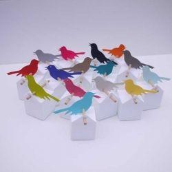Kit Oiseaux chantants : boites à dragées blanches et couleur des oiseaux au choix