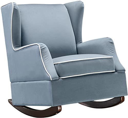 Buy Baby Relax Hudson Upholstered Wingback Nursery Room Rocker Baltic Blue Online Prettytoppro In 2020 Wingback Rocker Rocker Recliners Nursery Glider