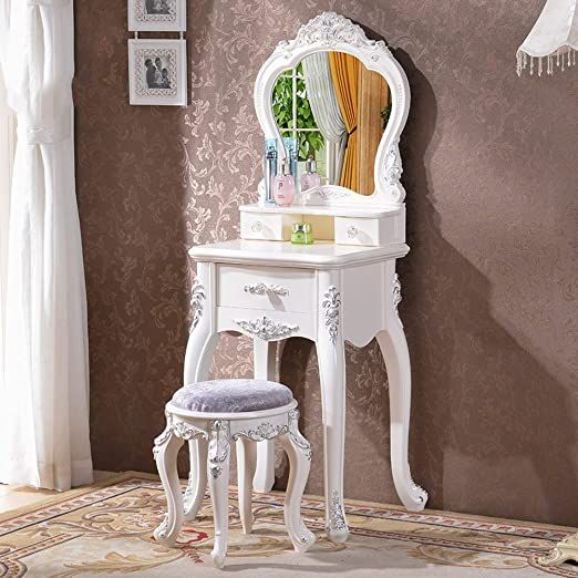 Totovy European Style Dressing Table Modern Minimalist Solid Wood Economy French Carved Small Dressing Table Modern Small Apartment Bedrooms Modern Minimalist
