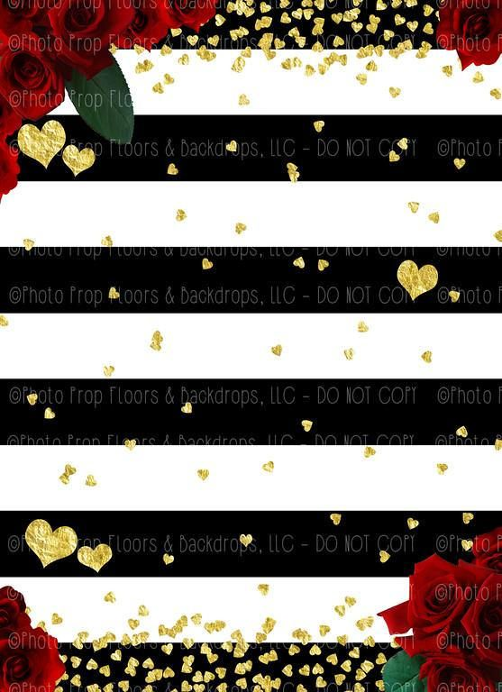 Black And White Stripes Red Roses Photography Backdrop Valentine S Day Gold Heart Stars Love Hu Red Backdrop Graduation Center Pieces Valentine Backdrop
