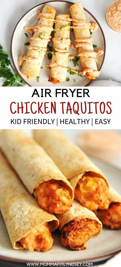 Homemade taquitos are easy to make in the air fryer!  This chicken recipe is a kid-friendly healthy