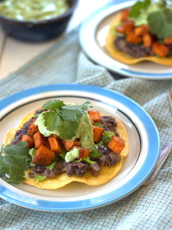 Chipotle Roasted Sweet Potato and Black Bean Tostadas with Avocado ...