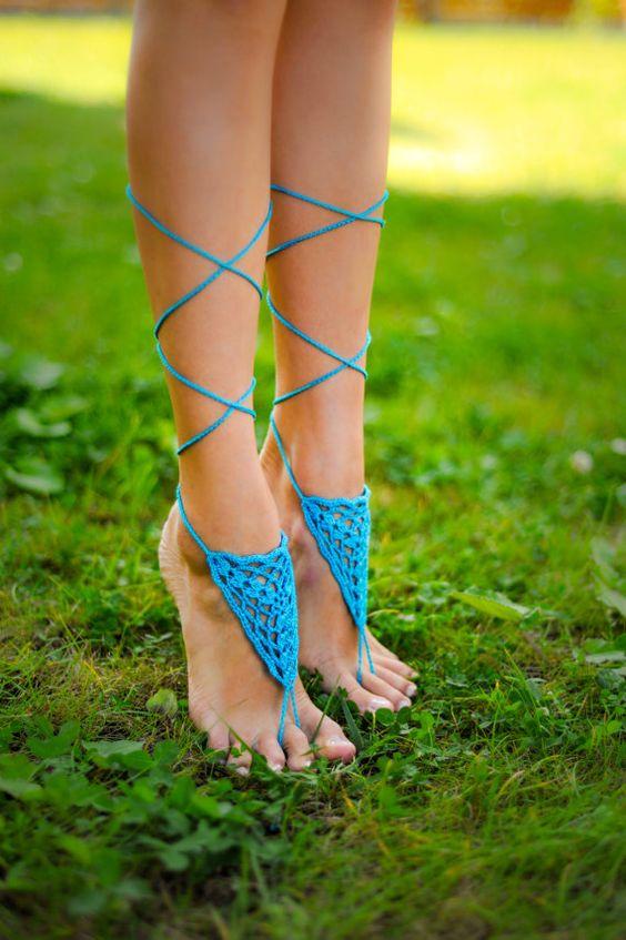 Aqua descalza sandalia sandalias Descalzas turquesas por barmine