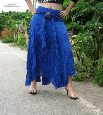 Wild Gypsy Pixie DanciLight summer 100% cotton material. Our handmade Long Cotton Skirt in Blue $35.90 free shipping