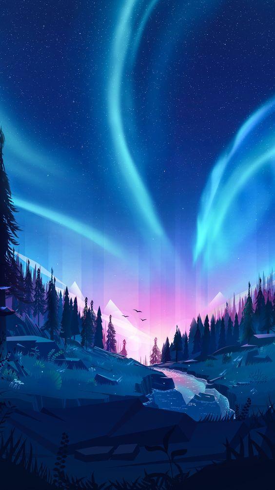 Auroral Forest By Sakurachen Wallpaper Myfavwallpaper Lockscreen Iphonewallpaper Smartphone Sky Art Landscape Wallpaper Nature Wallpaper Aurora android wallpaper hd