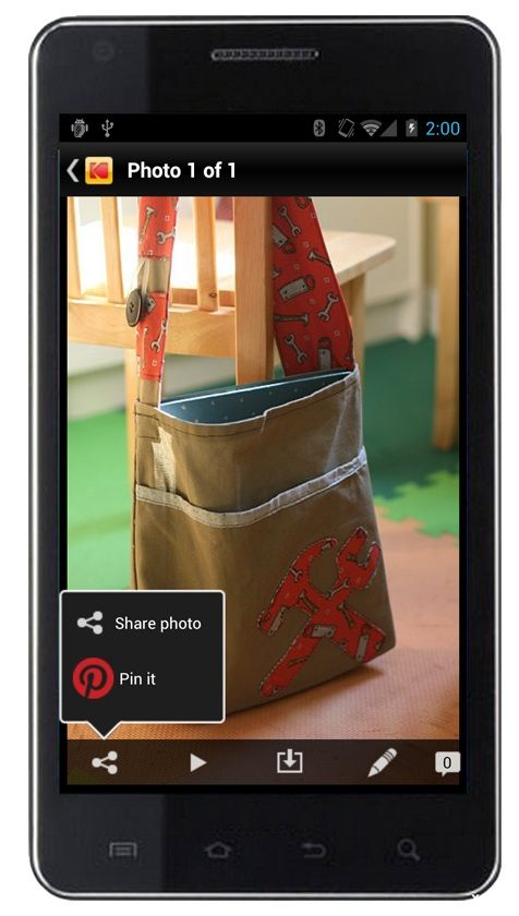 """The Android Kodak Gallery Mobile App allows you to """"Pin it"""" directly to Pinterest!"""