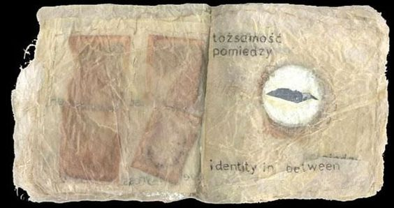 Book 20, In between here and there - Mixed Media,  9x9 in ©1998 by Beata Wehr -