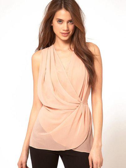 ärmelloses Kleid aus Chiffon mit tiefem V-Ausschnitt, rosa